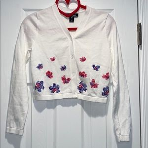 Lands End Cropped Sweater w/ Sequins Girls 10-12